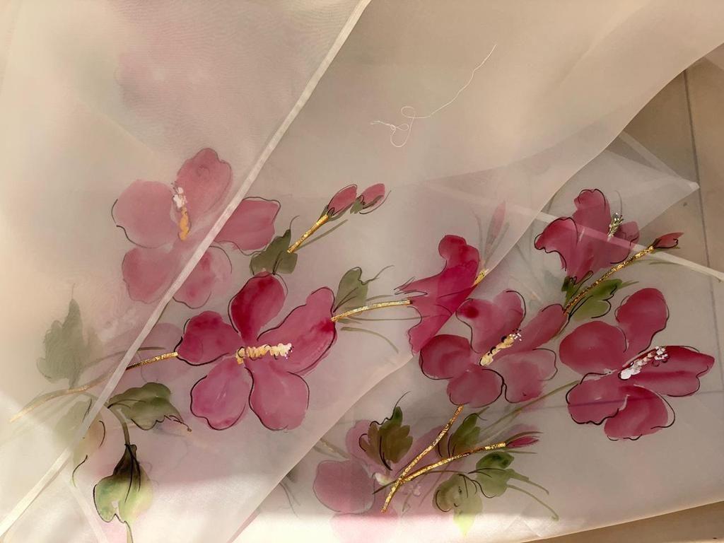 The China Rose Saree Hand Painted Sarees Saree Painting Designs Hand Painted Dress