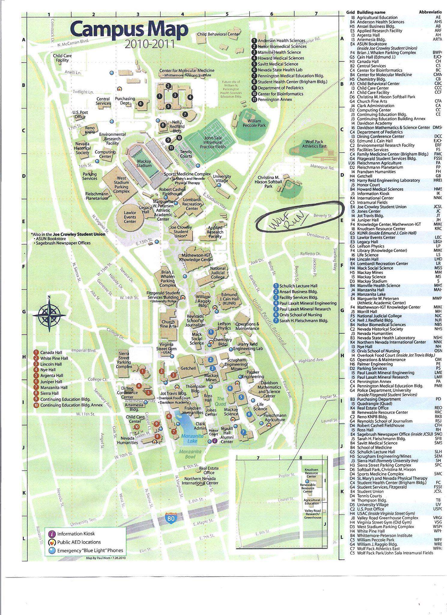 University Of Nevada Reno Campus Map