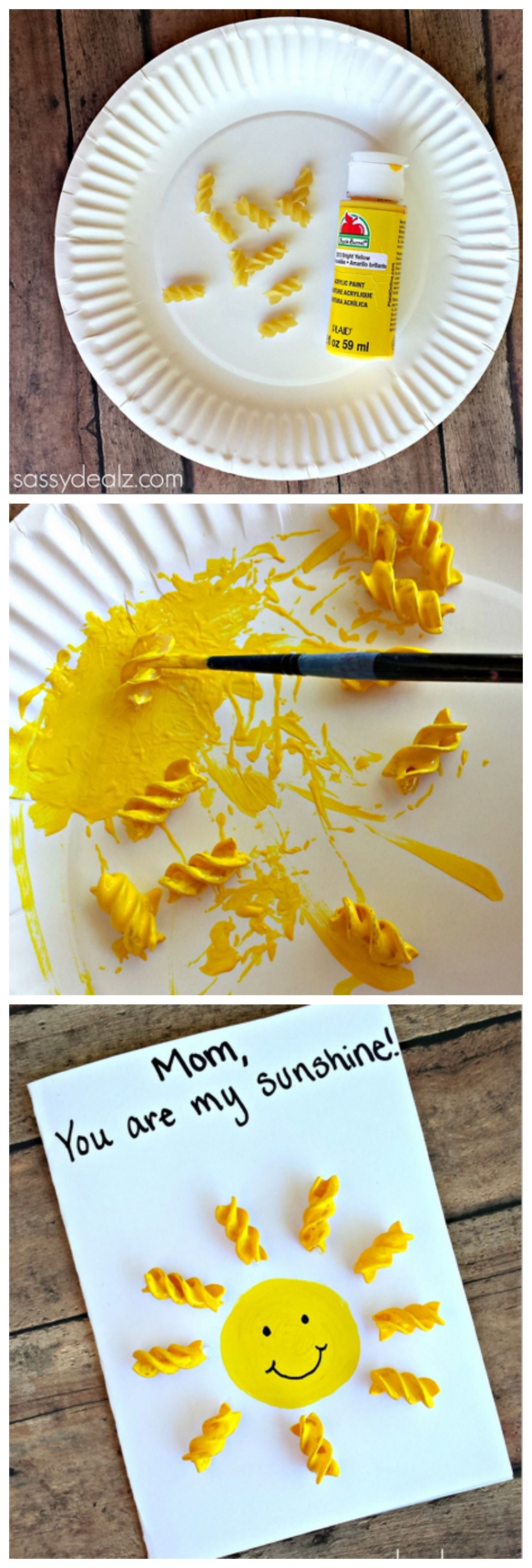 """""""You Are My Sunshine"""" Noodle Card for Kids to Make #mothersday gift/craft 