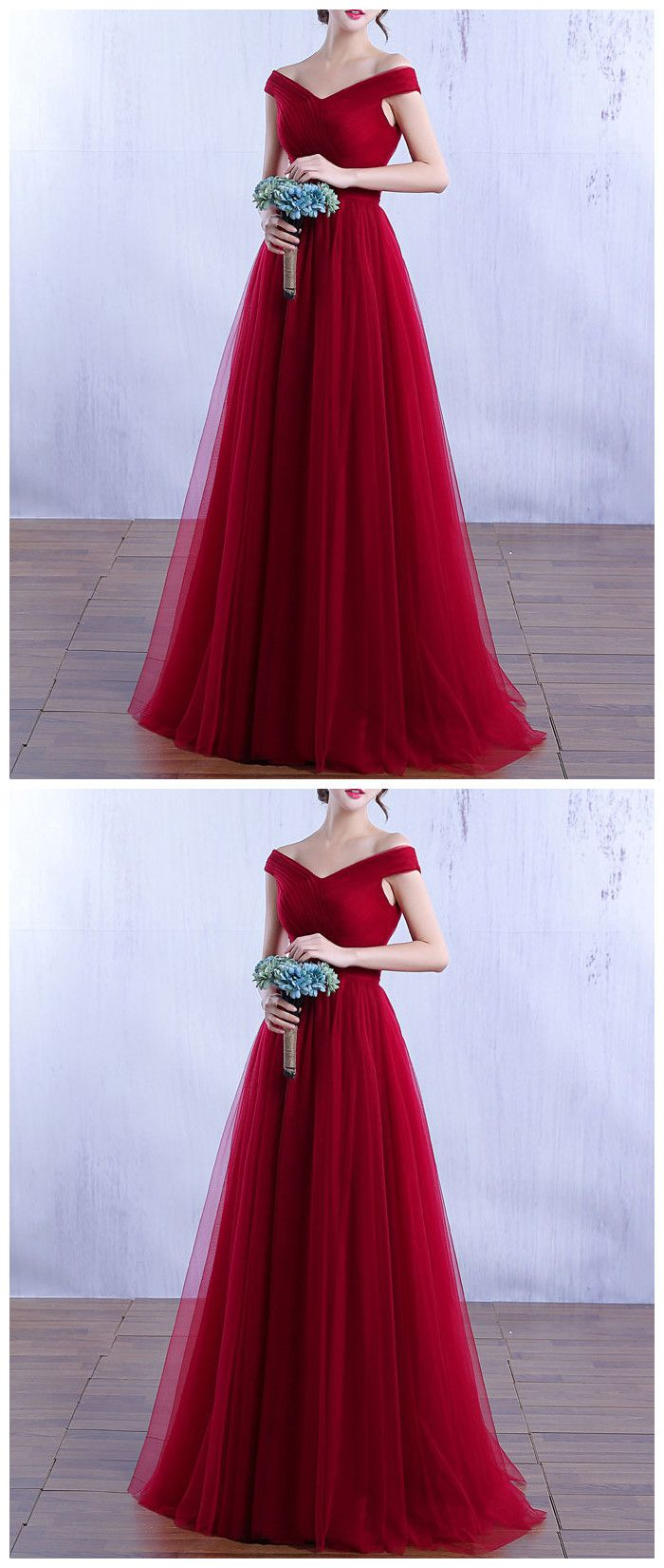 Burgundy tulle long prom dress burgundy bridesmaid dress hiprom