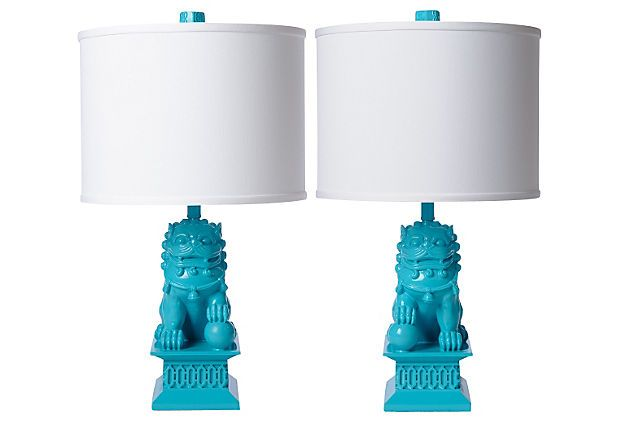 In love with Barbara Cosgrove's Foo Dog Table Lamp Set, Seaside on OneKingsLane.com