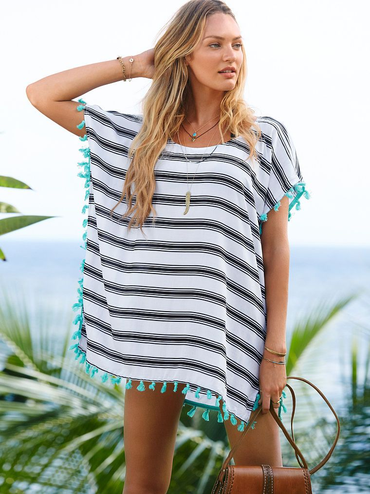 b12ecee877 Love this black and white stripe swimsuit coverup - the turquoise tassels  are to die for! Womens Striped Chiffon ...