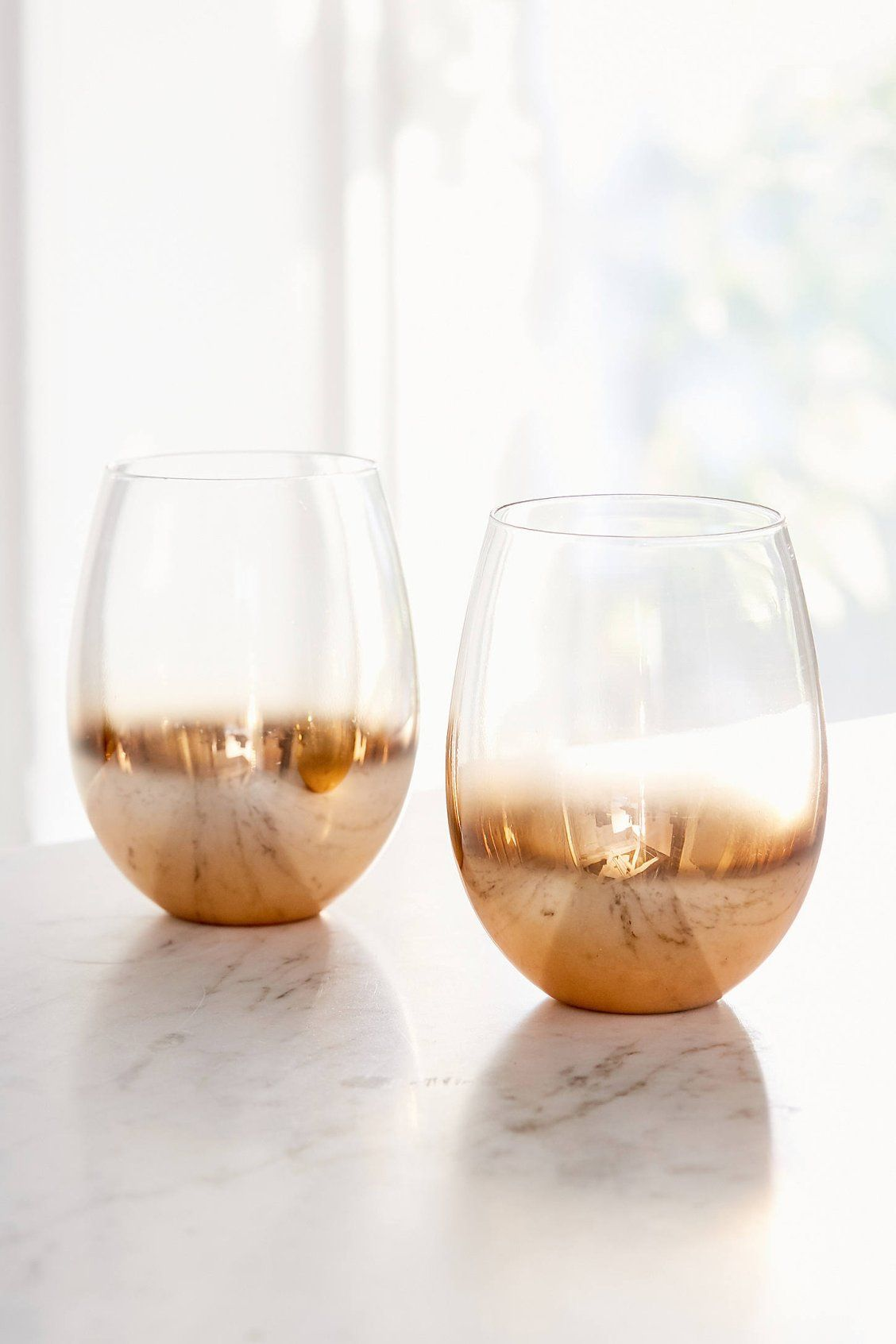 a1988dd0e50 Metallic Ombre Stemless Wine Glass – Set of 2 | Let's Drink | Wine ...