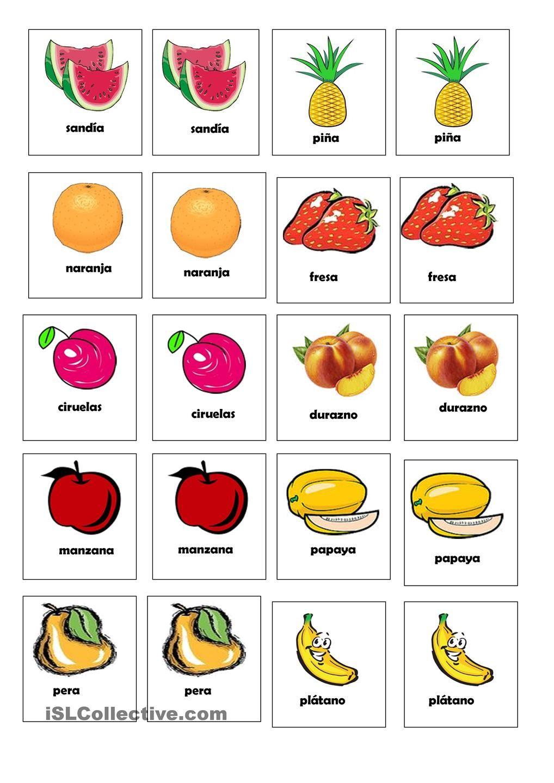 JUego de la memória de las frutas | Apoyo:) | Pinterest | Kind