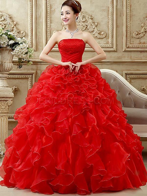 23d7a7d727 ericdress.com offers high quality Ericdress Strapless Cascading Ruffles  Ball Gown Quinceanera Dress Quinceanera Dresses unit price of   148.71.