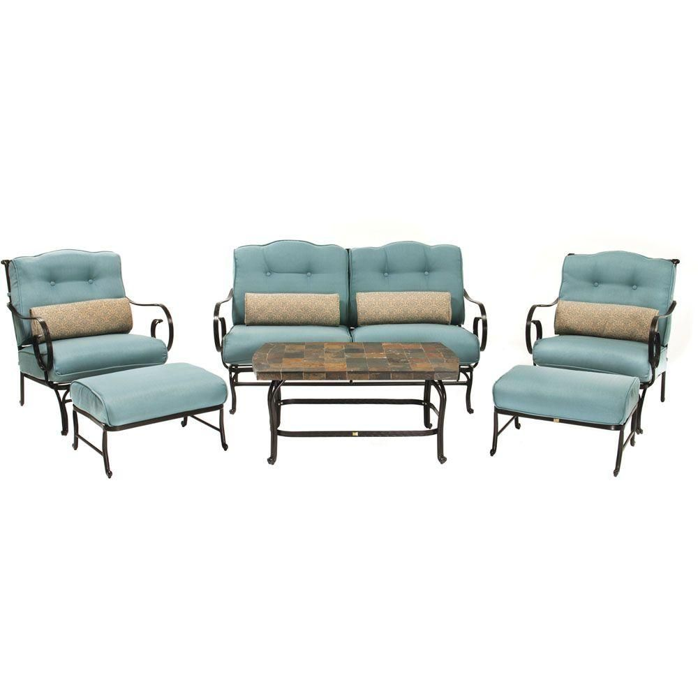 hanover patio furniture. Hanover Oceana 6-Piece Patio Lounge Seating Set With Nepal Blue Cushions Furniture
