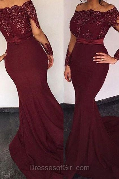 Burgundy Prom Dress, Long Prom Dresses, Mermaid Evening Gowns, Chiffon Party Dresses, Off the Shoulder Formal Dresses