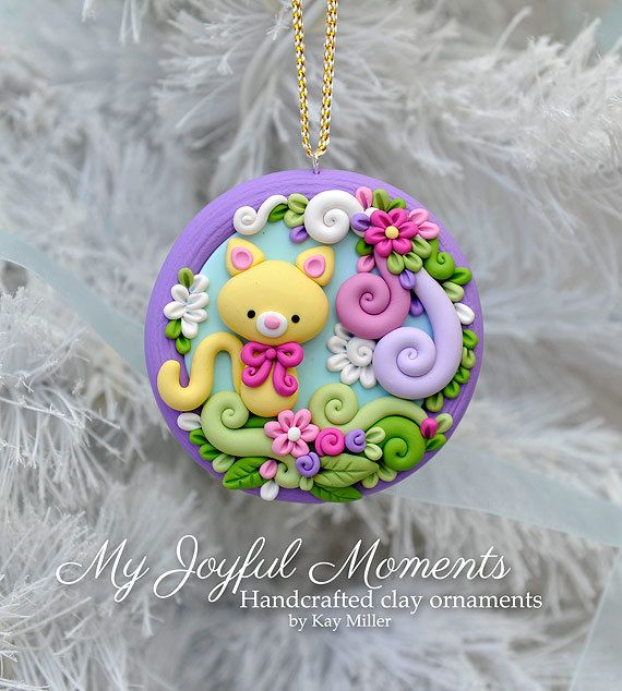 handcrafted polymer clay floral kitty scene ornament. Black Bedroom Furniture Sets. Home Design Ideas