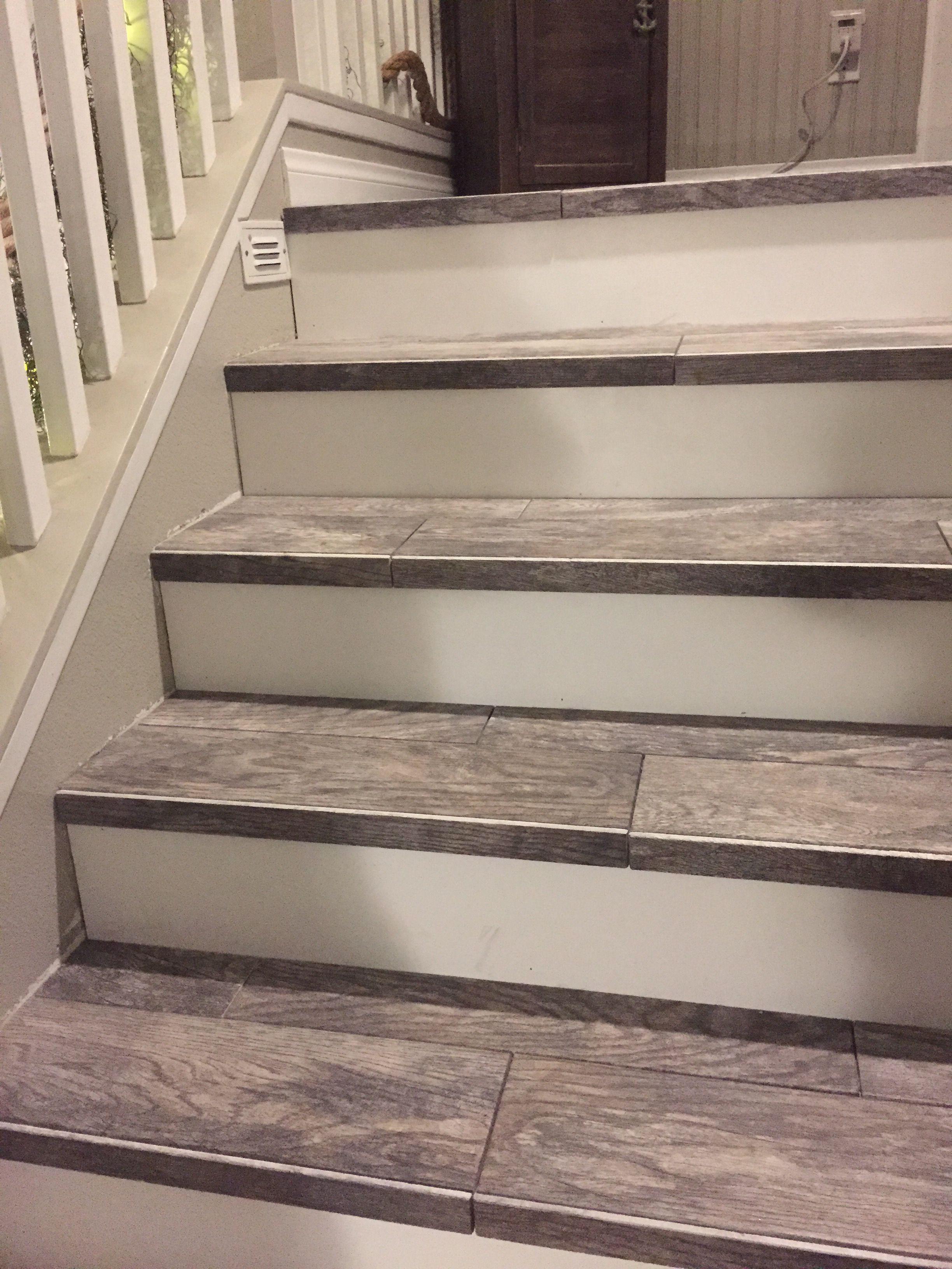 Wood Look Tiled Stair Case Diy Stairs Stair Makeover | Carpet Tiles For Steps