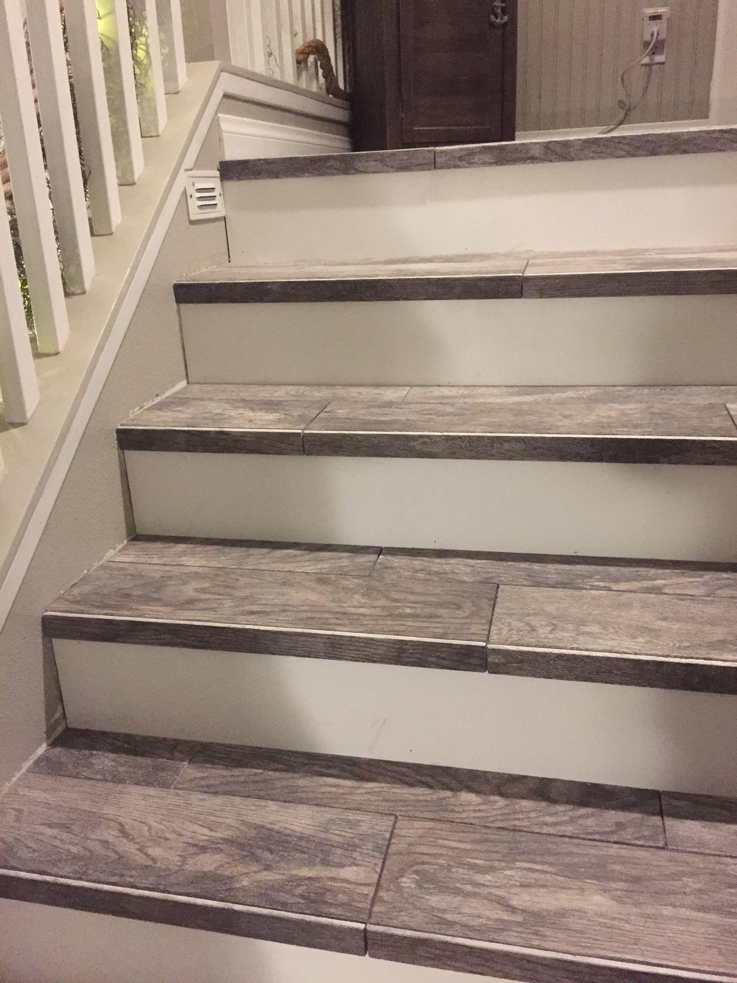 Wood look tiled stair case Diy stairs, Stair makeover
