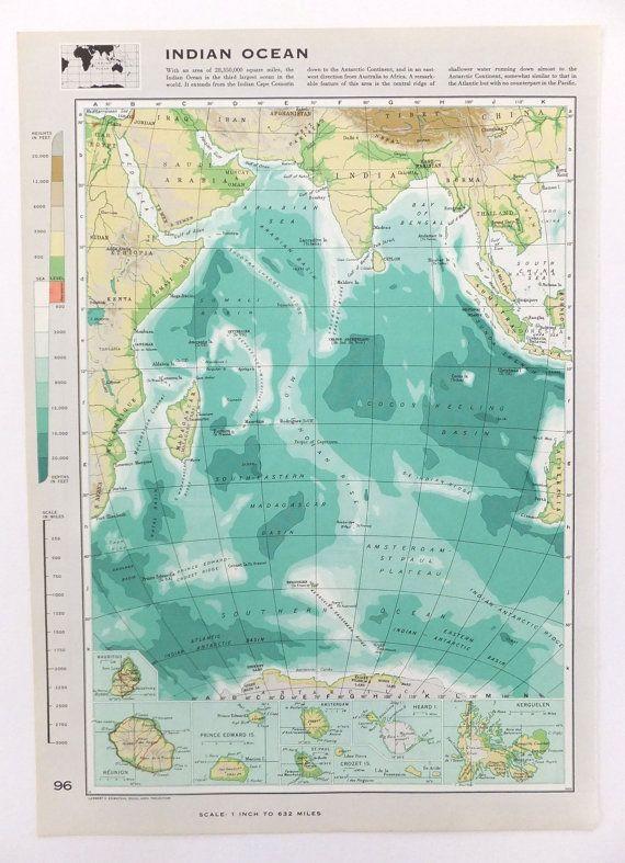Vintage indian ocean map large map of the indian ocean beach vintage indian ocean map large map of the indian ocean beach house decor seaside paper ephemera on etsy 800 publicscrutiny Choice Image