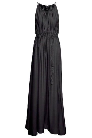 Black Spaghetti Strap Pleated Full Length Dress pictures