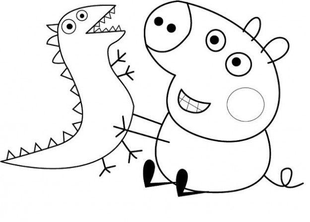 George con il dinosauro peppa pig da colorare disegni for Peppa pig da stampare