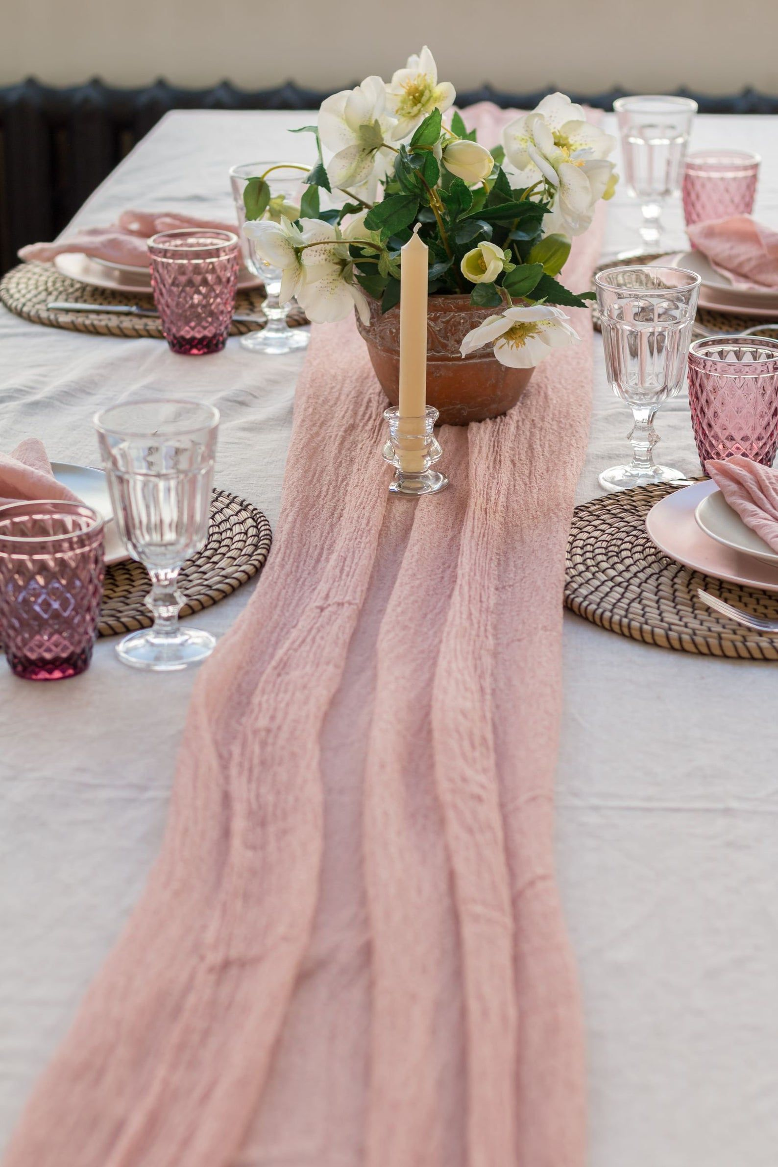 Dusty Rose Gauze Table Runner Table Runner For Wedding Wedding Etsy Table Runners Blush Bridal Showers Rustic Wedding Decor