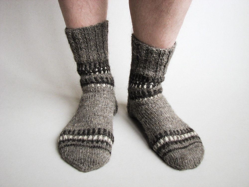 Patterned Hand Knitted Woolen Socks - Autumn Winter Comfort - 100 ...