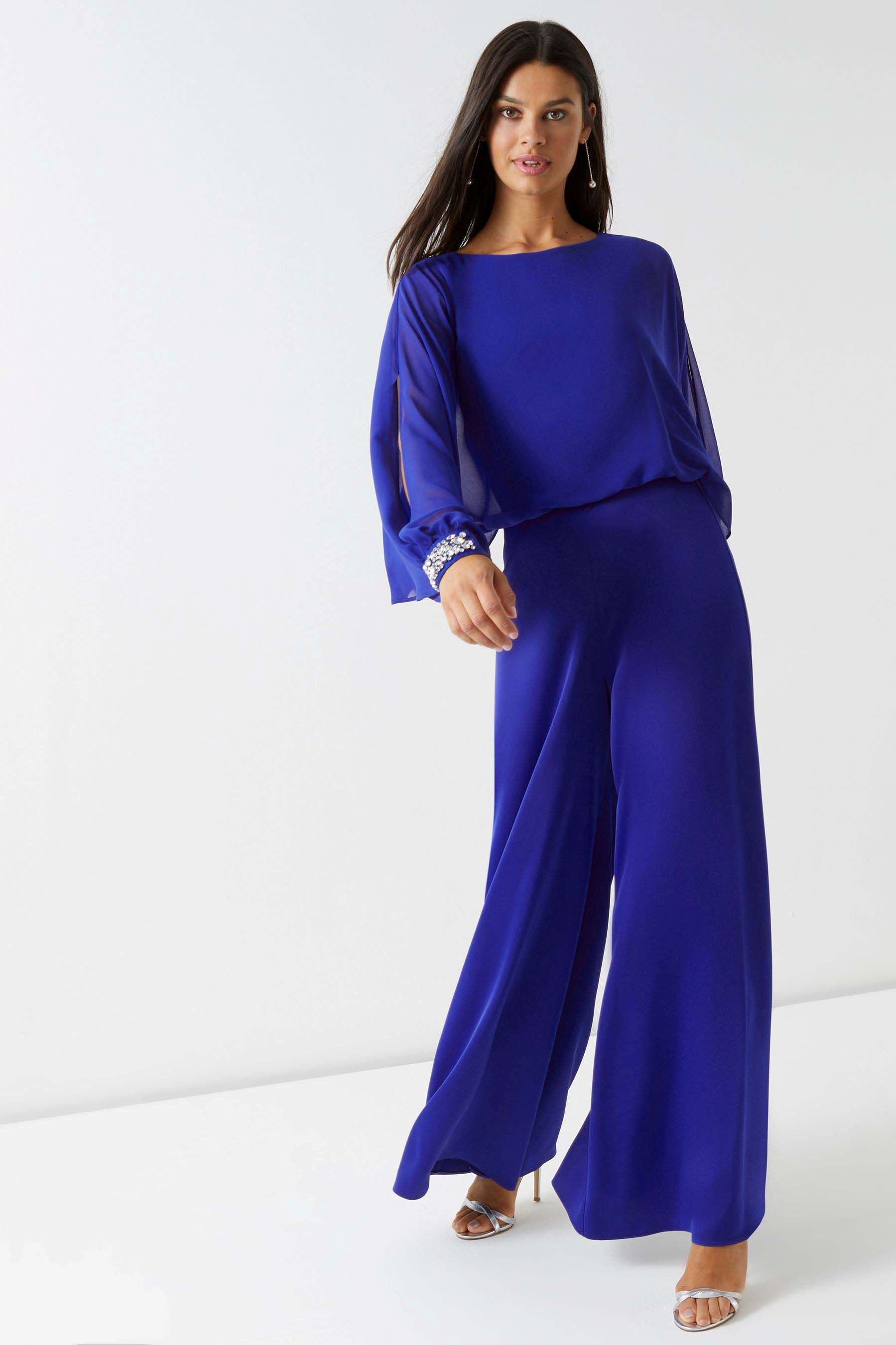 434e99bb1bb Womens Lipsy Jewel Cuff Long Sleeve Jumpsuit - Blue