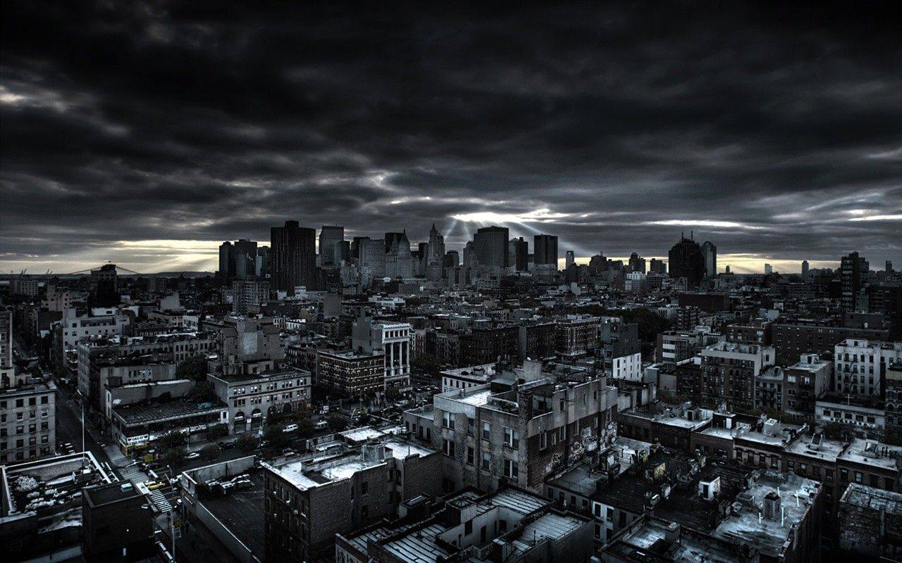 Dark City Building Scenery Modern Full Hd 1080p Background Dark