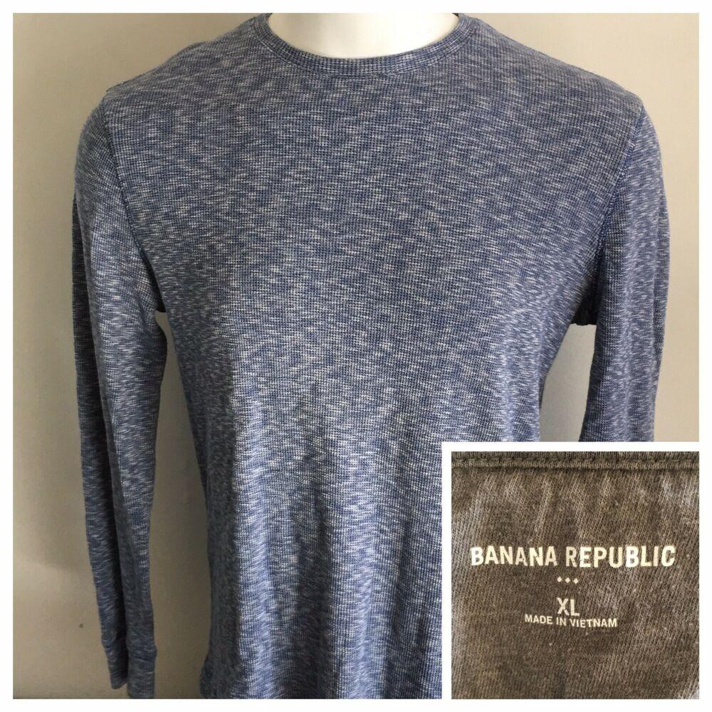 Banana Republic Mens XL Thermal Shirt Heather Blue Crew