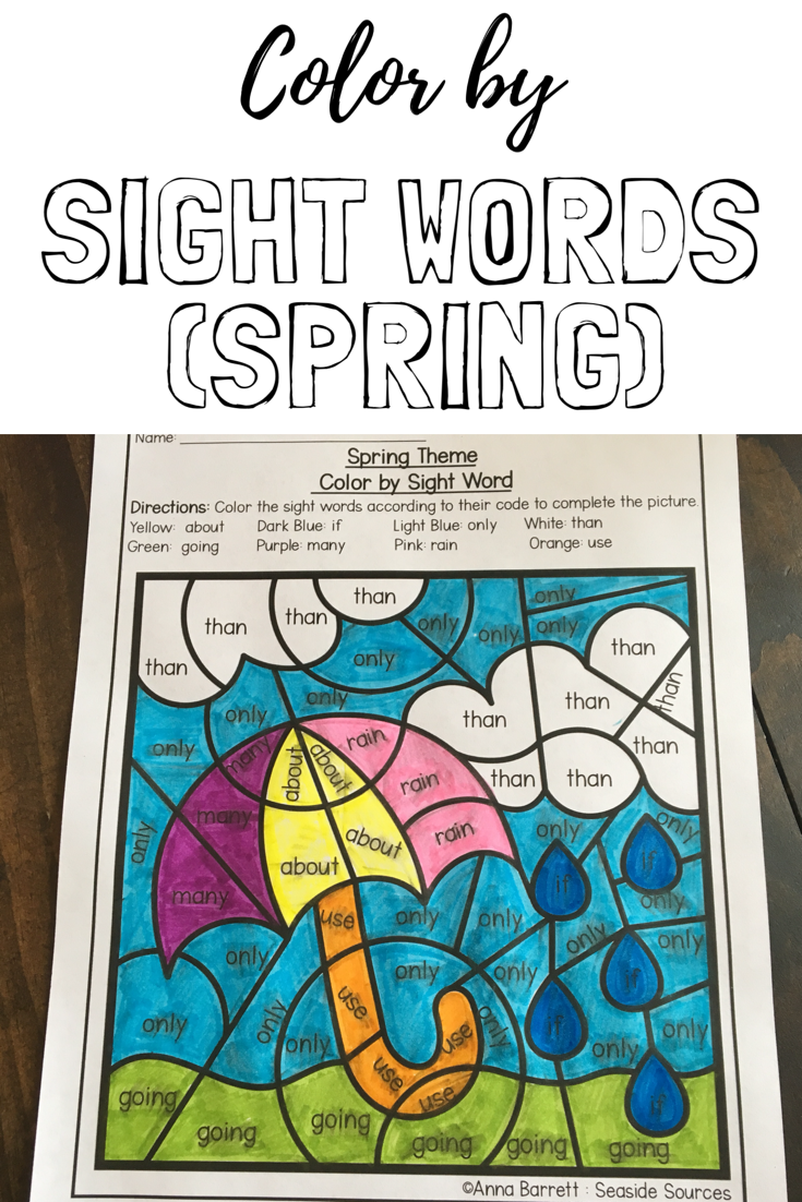 Spring color by sight words pinterest sight words printables