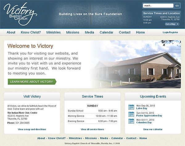 Victory Baptist Church (Titusville, FL) - content management system, web design, logo design, xhtml/css