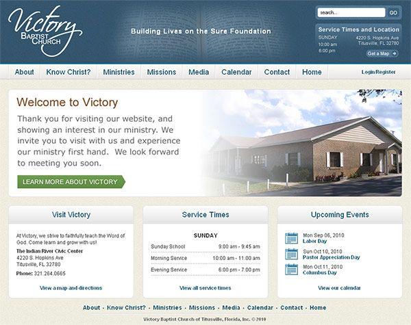 Victory Baptist Church (Titusville, FL) - content management system, web design, logo design, xhtml/css