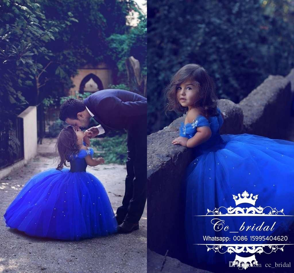 Stunning Erfly Princess S Cinderella Dresses 2017 Ball Gown Royal Blue Pageant Gowns Lovely Cap Sleeves Wedding Party Dress Amazing Flower