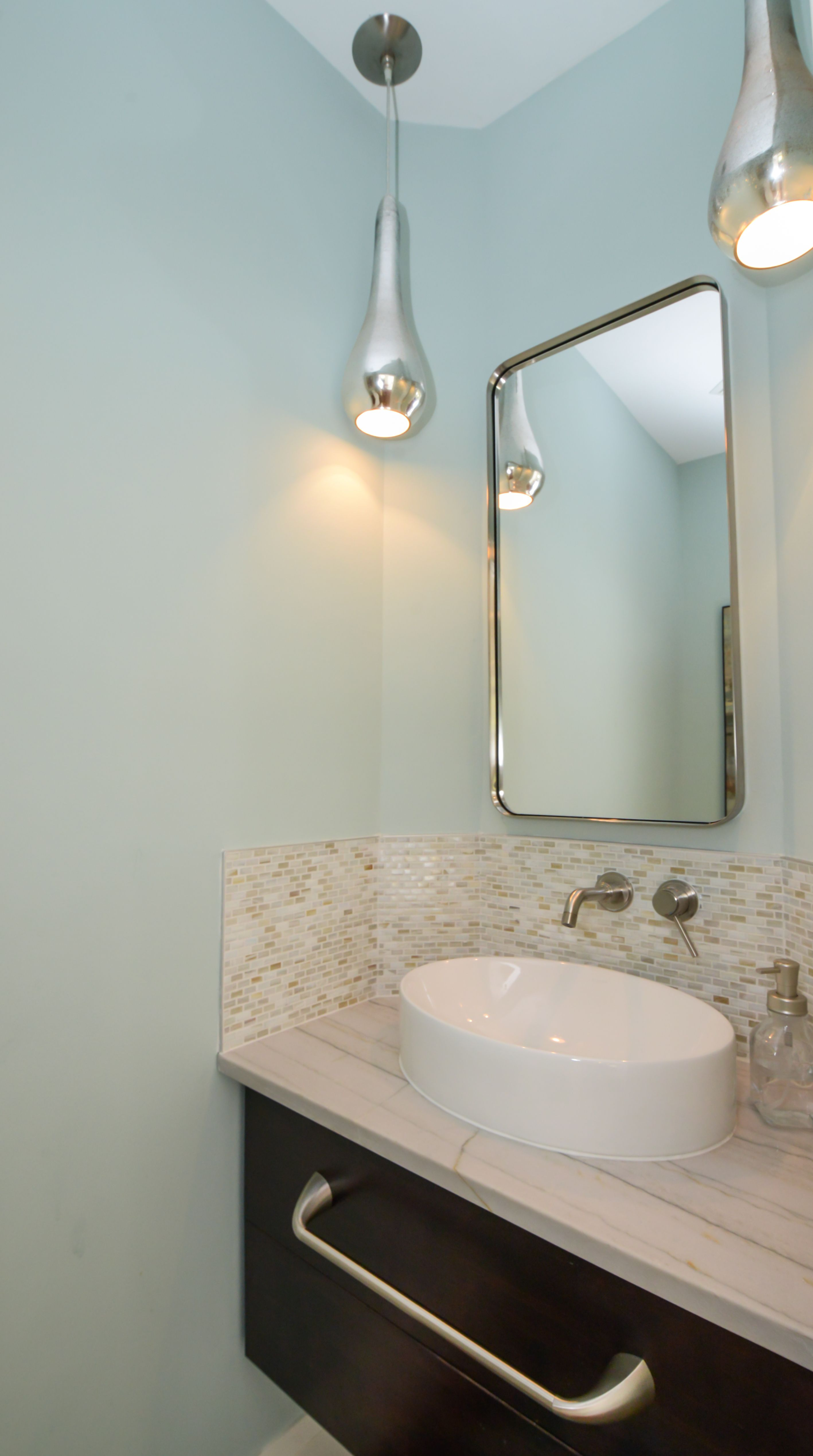 Contemporary powder room with a White Macaubas honed quartzite ...