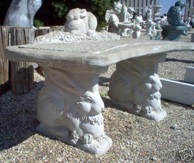 Details About 45 Quot Concrete Lawn Garden Bench Rabbit Statue