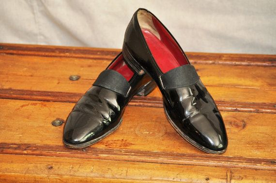 68629a7765cb5 1940's Men's Shoes Vintage Slip-On Tuxedo Black-Tie Shoe Size 9D ...