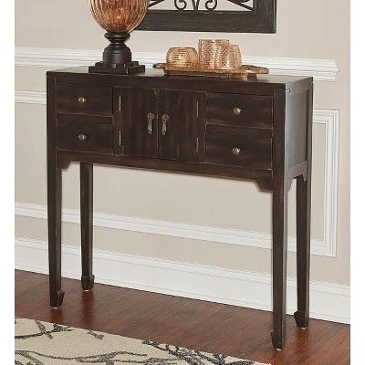 Olivier Console Table Black Distressed Powell Company