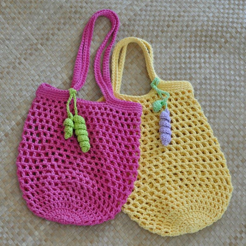PDF Small Jemma's Market Bag N Mesh Tote Crochet Pattern and FREE PDF Curly Q Bookmark Pattern