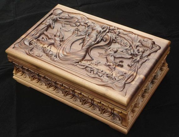 Jewelry Box carved with ornaments and motifs Box Luxury and