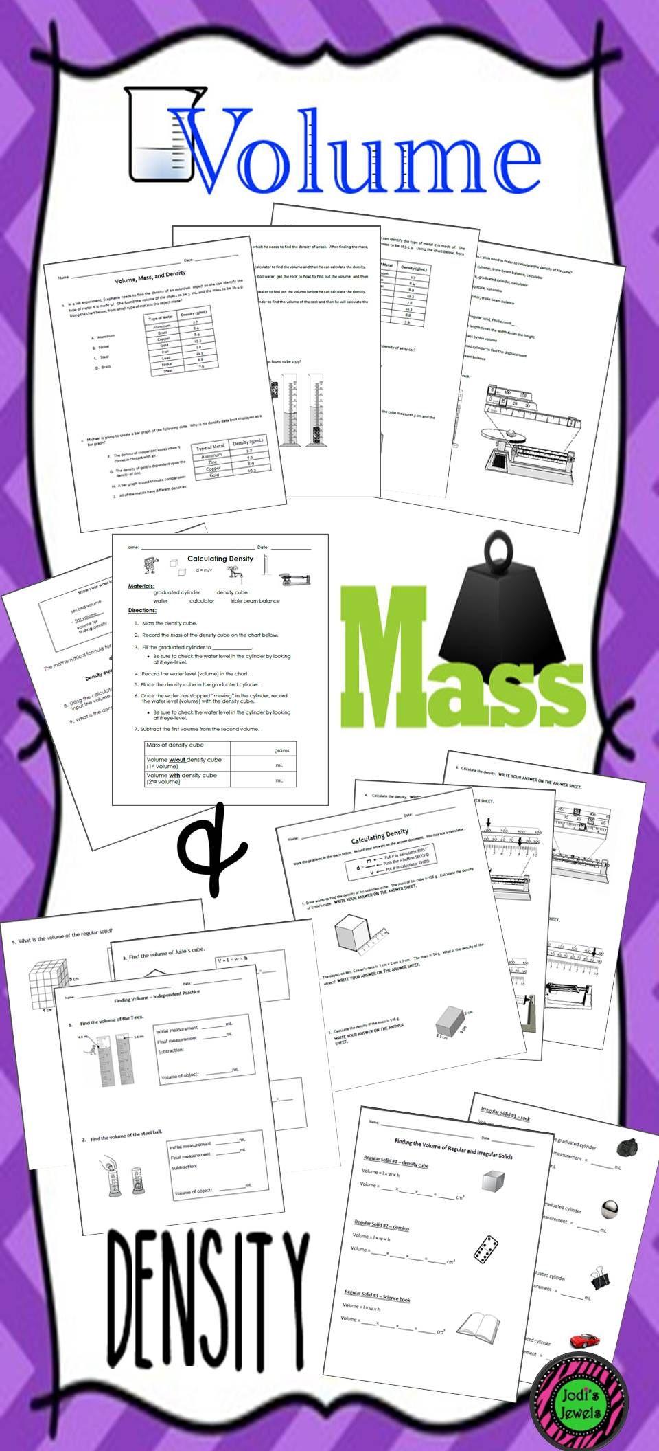 Volume, Mass, & Density lab sheets and worksheet practice