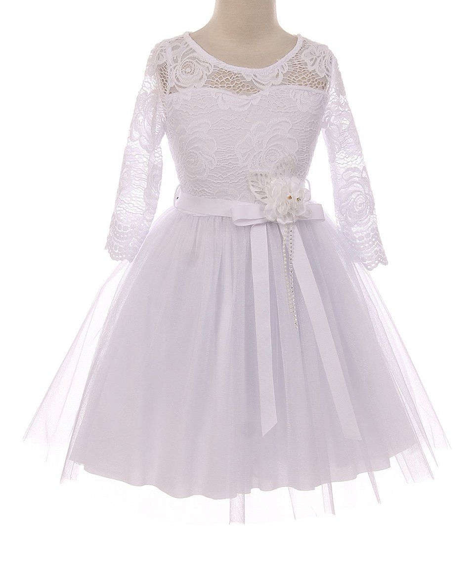 a8e940540 Take a look at this White Floral Lace Top & Tulle A-Line Skirt - Toddler &  Girls today!