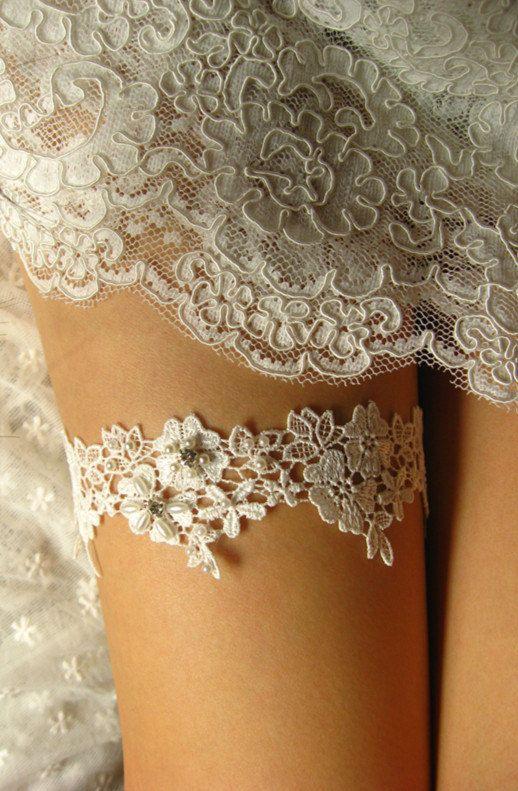 Bridal Garter Wedding Off White Lace Bride Beaded