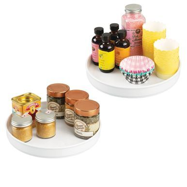 mDesign Plastic Kitchen Pantry Lazy Susan - Turntable Storage, Charcoal Gray, 9 x 1.5, Pack of 4 #kitchenpantrycabinets