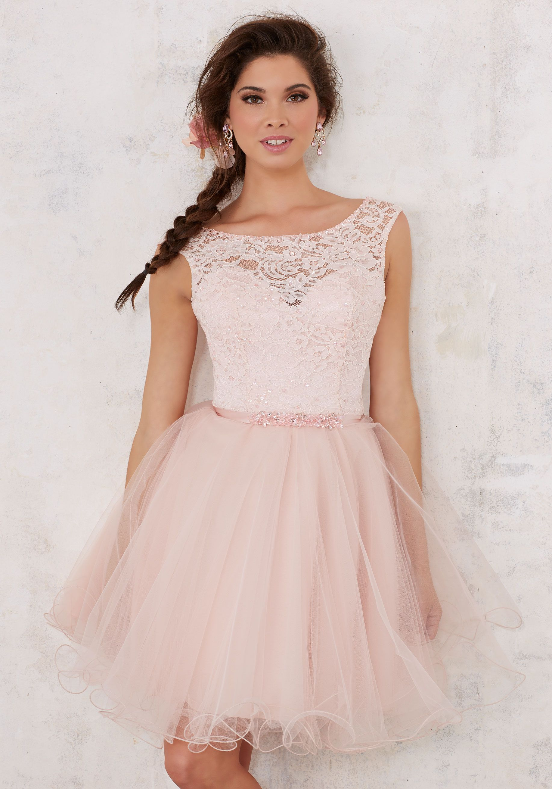 Lace and Tulle Damas Dress with Beading | Damas Style 9443 | Quinceanera Dresses by Morilee designed by Madeline Gardner. Beautiful Quinceañera Bridesmaids Dress Featuring a Lace Bodice and Full Tulle Skirt.