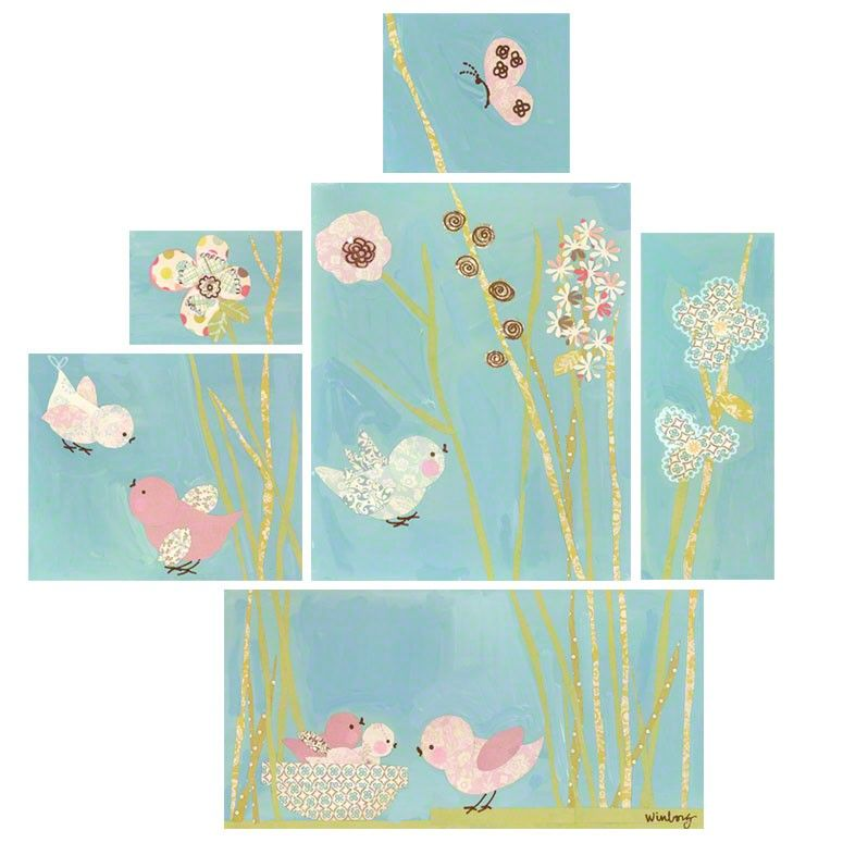 All a twitter blue set wall art for children by winborg sisters for