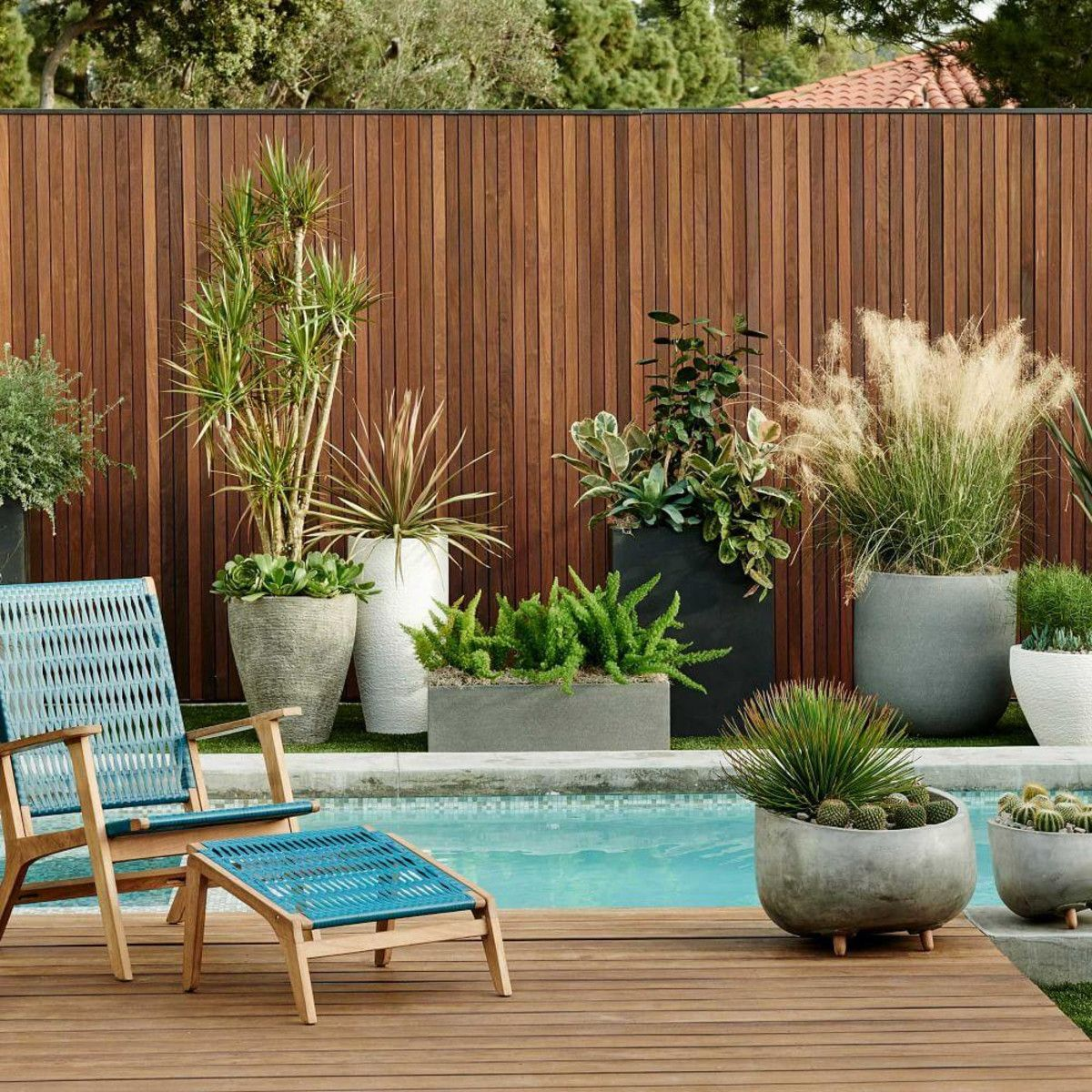 Catskill Wood + Wicker Chair - Teak/Teal | Garden ideas | Pinterest ...