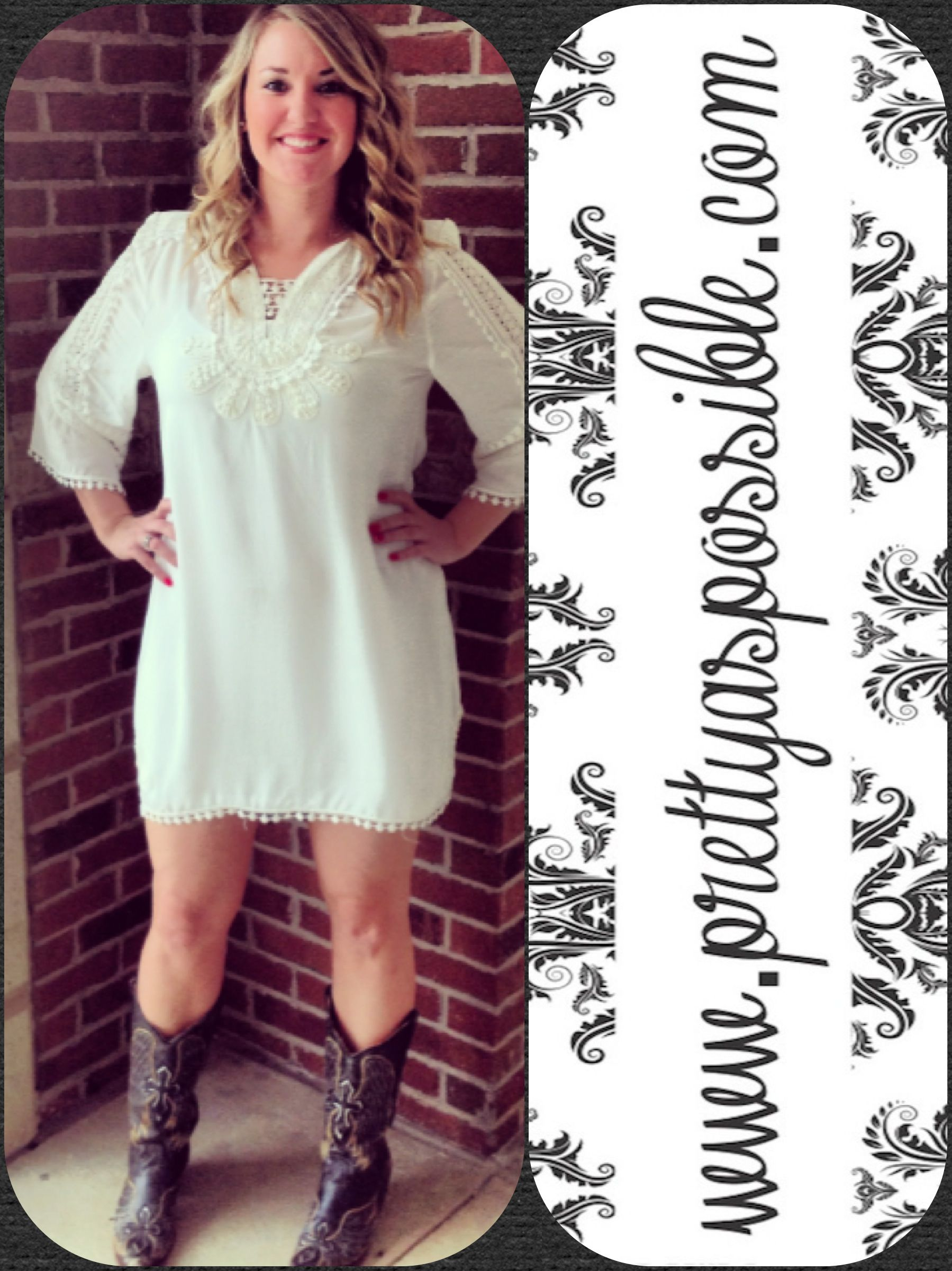 Ivory Decorative Detail Dress. Great for Spring and Summer with boots, flip flops or wedges!! Only $46!