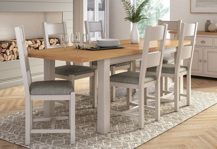 Vida Living Amberly Large Extending Dining Table Oak And Grey