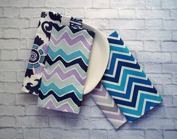 Modern Chevron and Floral Kitchen Towel Set of 4 in by CallieZoey