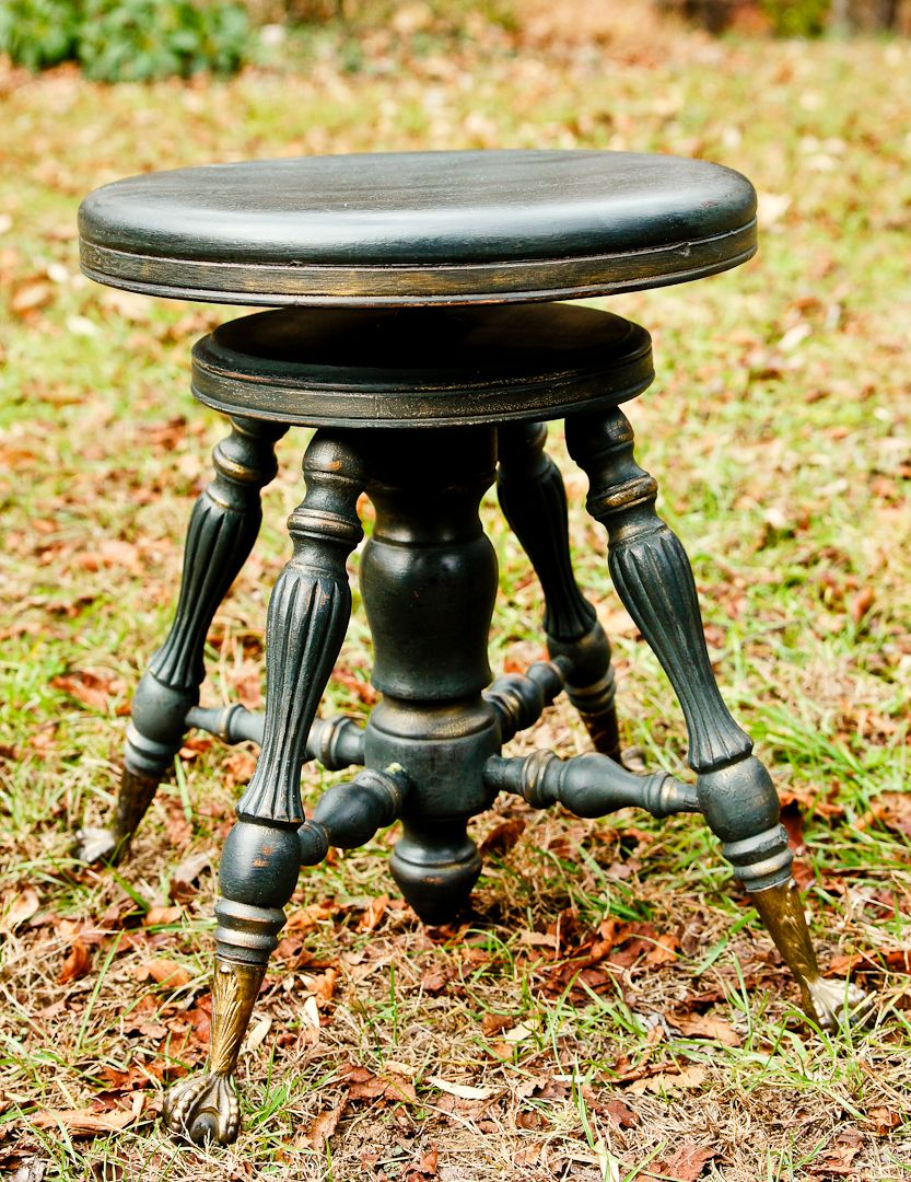 Old Antique Piano Bench Cece Caldwell Black Slate And