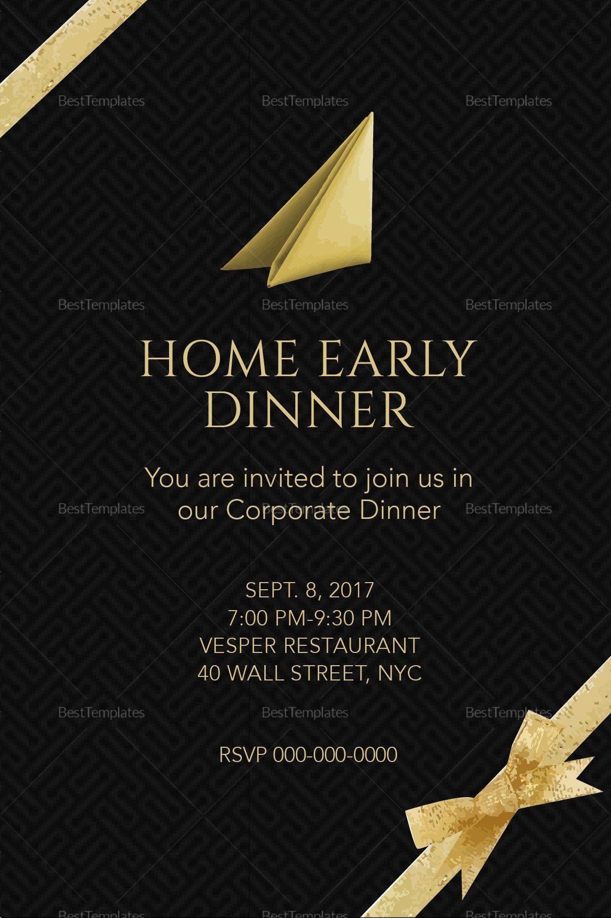 Dinner Invitation Template Word Fresh Corporate Dinner Invitation