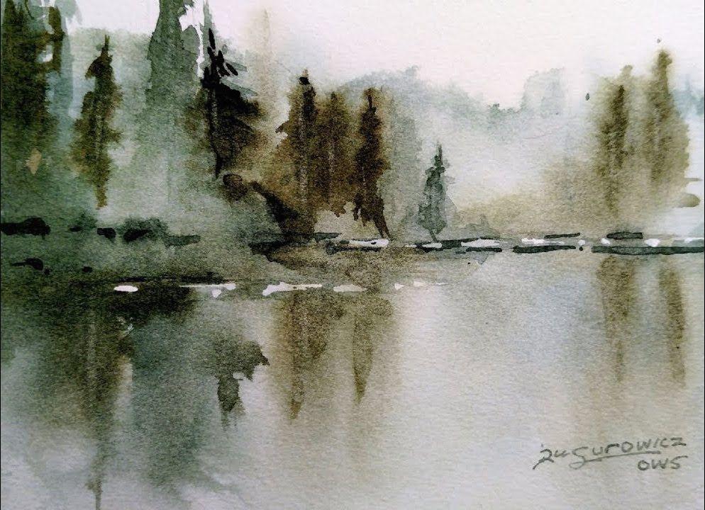 Aceo Original Herbst Herbst Malerei Berg Baume Landschaft Aquarell