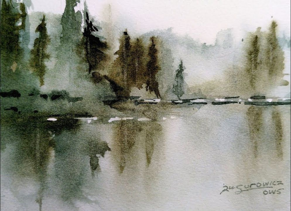 Rick Surowicz Misty Lake Loose Transparent Watercolour