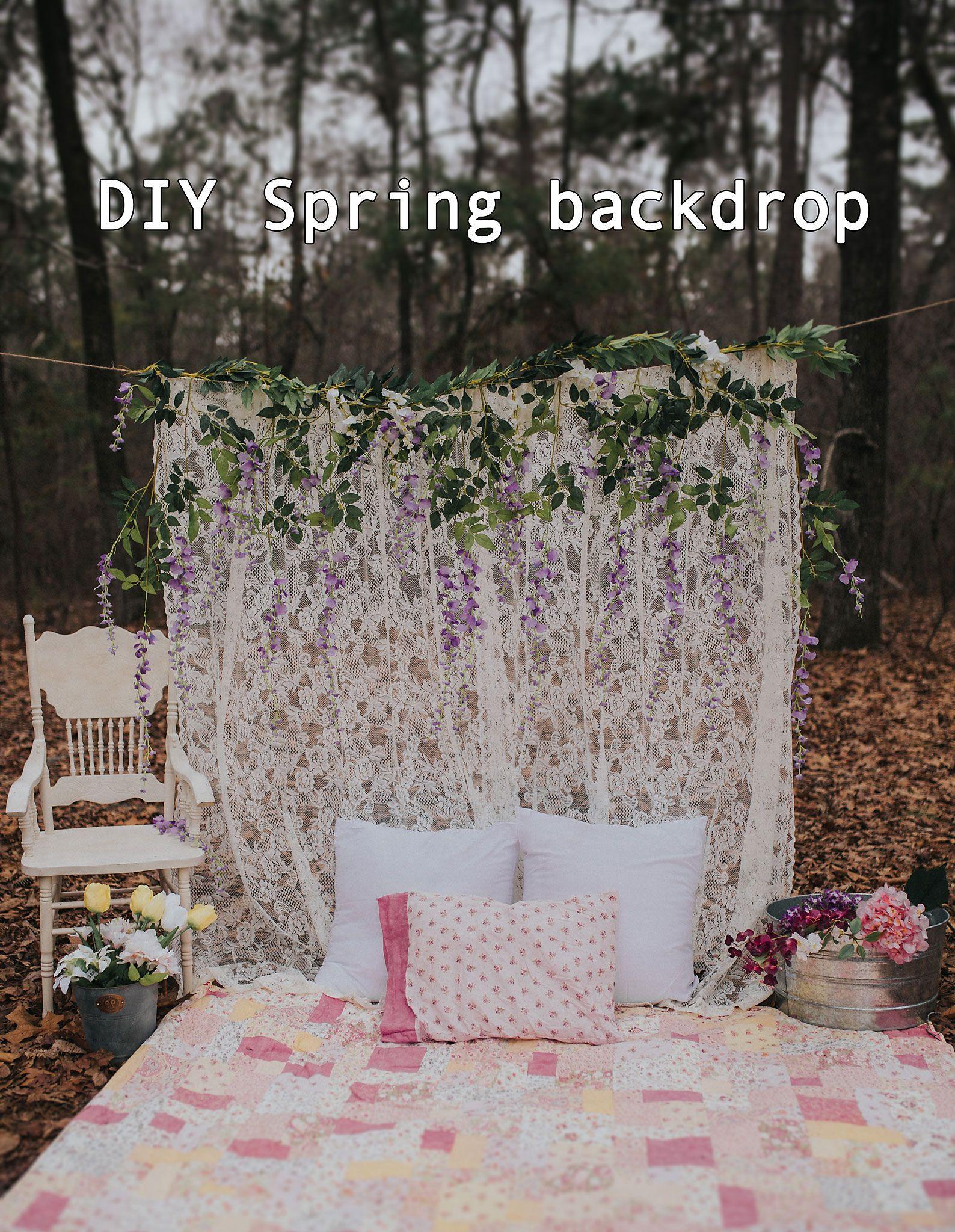 DIY Spring Backdrop Photography Lace Vintage