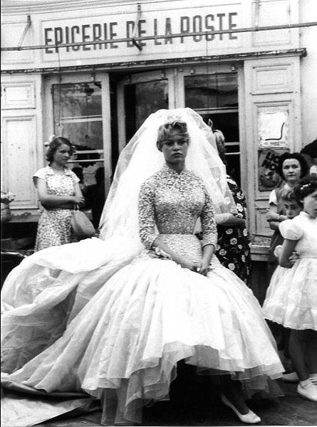 gatabella: u201cBrigitte Bardot wearing Balmain wedding gown on the