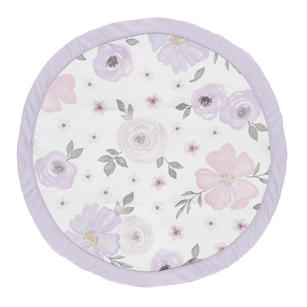 Watercolor Floral Baby Toddler Girl Lavender Purple Pink Grey Fitted Crib Sheet