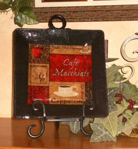 Coffee Decor Plate Decorative Decoupage Glass Plate Cafe Style Java Collection - CAFE & Coffee Theme Decor Plate Decorative Decoupage Glass Plate Cafe ...
